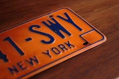 Placa vieja del Estado de Nueva York Imagen de archivo