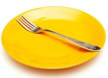 Placa y fork Imagenes de archivo