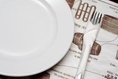 Placa y fork Fotografía de archivo libre de regalías