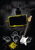 Placard. With banner, speakers and guitar in dark underground street style Stock Image