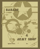 Placard, army shop. Jpeg and vector picture, old style placard royalty free illustration