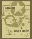 Placard, army shop Stock Photos