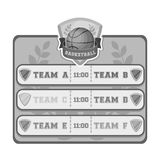 Placard on the basketball court.Basketball single icon in monochrome style vector symbol stock illustration web. Stock Photography