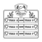 Placard on the basketball court.Basketball single icon in outline style vector symbol stock illustration web. Stock Photo