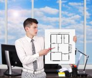 Placard with blueprint Stock Photography