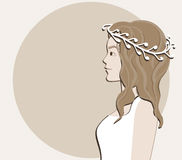 Placard with a bride in a wreath. Placard with a bride in a white wreath? stylized as a cardboard application Stock Image