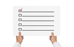 Placard with check box Stock Images