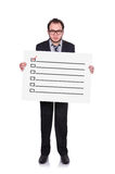Placard with checklist Royalty Free Stock Photo
