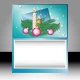 Placard. Christmas card with Christmas tree balls and candles royalty free illustration