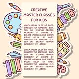 Placard concept with things for kids creative activity and master classes information. Cartoon style vector illustration. Suitable for advertisement or poster stock illustration