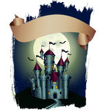 Placard with dark castle. Hallowen graphic poster with dark castle on a moon background stock illustration