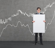 Placard with drawing forex chart Stock Image