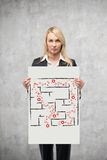 Placard with drawing maze Stock Photography