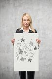 Placard with drawing puzzle Royalty Free Stock Photos