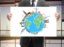 Placard with earth Stock Image