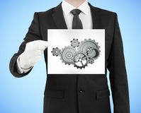 Placard with gears Stock Photo