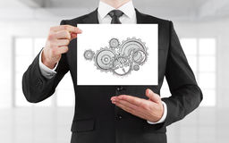 Placard with gears Royalty Free Stock Image