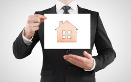 Placard with house Stock Image
