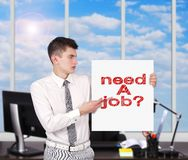 Placard with need a job Stock Image