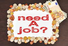 Placard with need a job Royalty Free Stock Photography