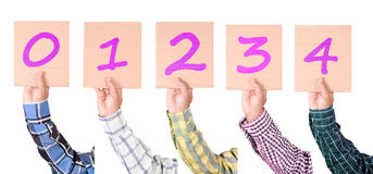 Placard with numbers from 0 to 4 in majenta color Stock Photography