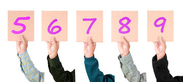 Placard with numbers from 5 to 9 in majenta color Royalty Free Stock Photo