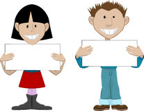 Placard people. Two people holding placards. Place whatever you want on the placards royalty free illustration