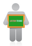 Placard that reads Listen to Me Stock Photo