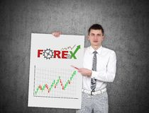 Placard with stock chart Stock Photos