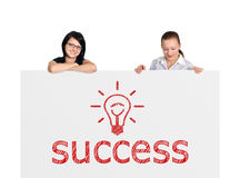 Placard with success Stock Images