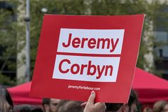 A Placard Supporting Labour Party Leader Jeremy Corbyn stock photography