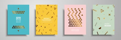 Placard templates set with abstract geometric elements. Design cards with gold elements. Applicable for placards, brochures, flyer. S, banners, book covers Royalty Free Stock Images