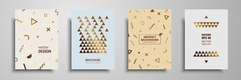 Placard templates set with abstract geometric elements. Design cards with gold elements. Applicable for placards, brochures, flyer. S, banners, book covers Stock Photo