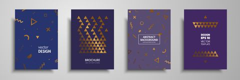 Placard templates set with abstract geometric elements. Design cards with gold elements. Applicable for placards, brochures, flyer. S, banners, book covers Royalty Free Stock Photo