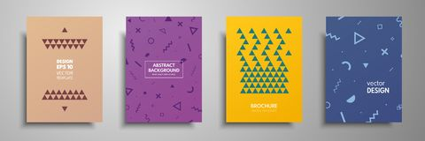 Placard templates set with abstract geometric elements. Design cards with gold elements. Applicable for placards, brochures, flyer. S, banners, book covers Royalty Free Stock Photography