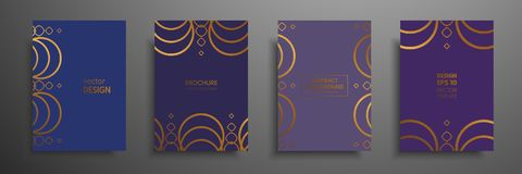 Placard templates set with abstract geometric elements. Design cards with gold elements. Applicable for placards. Brochures, flyers, banners, book covers Stock Photos