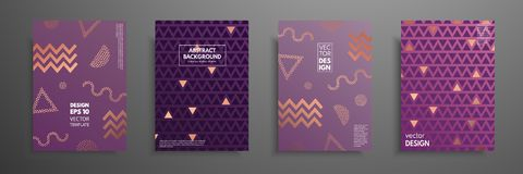 Placard templates set with abstract geometric elements. Design cards with pink gold elements. Applicable for placards. Brochures, flyers, banners, book covers Stock Photos