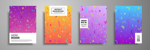 Placard templates set with abstract geometric elements. Memphis style cards. Collection of templates in trendy memphis fashion 80-. 90s. Applicable for placards Royalty Free Stock Photo
