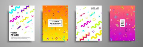 Placard templates set with abstract geometric elements. Memphis style cards. Collection of templates in trendy memphis fashion 80- royalty free illustration