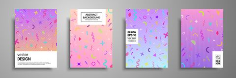Placard templates set with abstract geometric elements. Memphis style cards. Collection of templates in trendy memphis fashion 80-. 90s. Applicable for placards Stock Photography