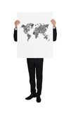 Placard with world map Stock Photography
