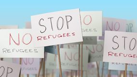 STOP REFUGEES placards at street demonstration. Conceptual 3D rendering. Placards at street demonstration. 3D Stock Photo