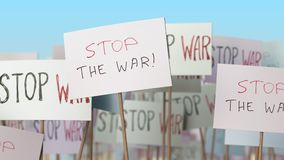 STOP WAR placards at street demonstration. Conceptual loopable animation