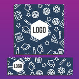 Placards with Web Banner with back to school pattern. Back to sc. Hool branding background Stock Images