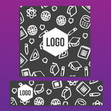 Placards with Web Banner with back to school pattern. Back to sc. Hool branding background Stock Photos