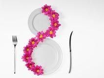 placas blancas y flor rosada Imagenes de archivo