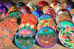 Placas cerâmicas da argila de México colorido Imagens de Stock Royalty Free
