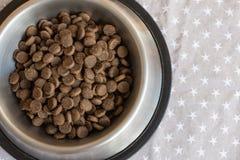 Placas com alimento seco do ` s do cão foto de stock
