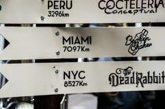 Placas com distâncias aos lugar Imagens de Stock