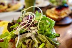 Placas com pratos suporte no a?o, nas saladas, nas sobremesas e nos frutos imagens de stock royalty free